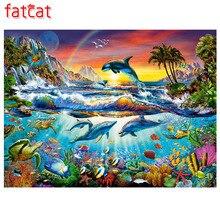 FATCAT-5d peinture diamant arc-en-ciel   Autocollants décoratifs, broderie diamant, animal mignon, forme carrée, mosaïque complète ronde, AE505, bricolage