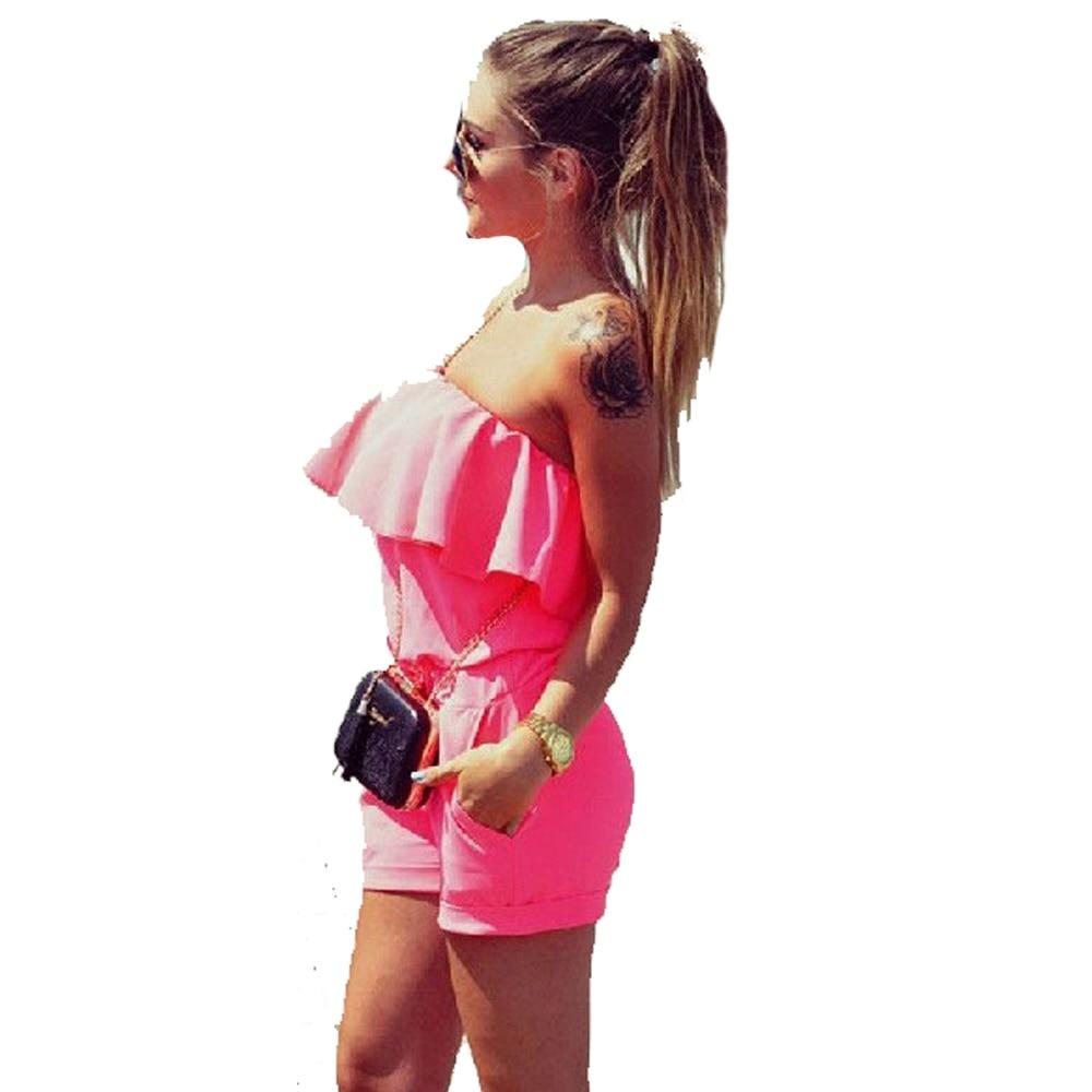 Summer Strapless Off Shoulder Playsuits Ruffles Elastic Waist Beach Shorts Set Women Rompers Jumpsuit FS0222