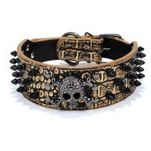Halloween Spiked Skull Stud Dog Collar Adjustable Rivet PU Leather Puppy Collar Pet Dog Neck Strap
