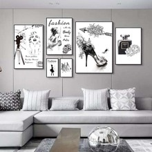 Now fashion art oil painting black and white style perfume high heel shoes canvas Girl Bedroom Home