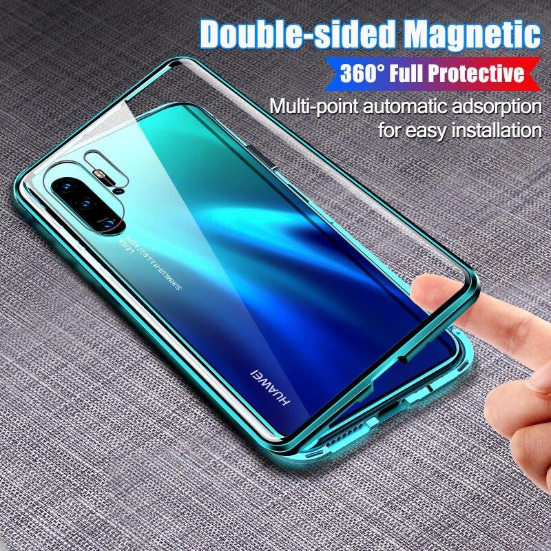 360 capa completa de metal magnético caso telefone para huawei p30 mate 20 30 p40 pro p20 à prova choque para honra 20 10 lite vidro capa