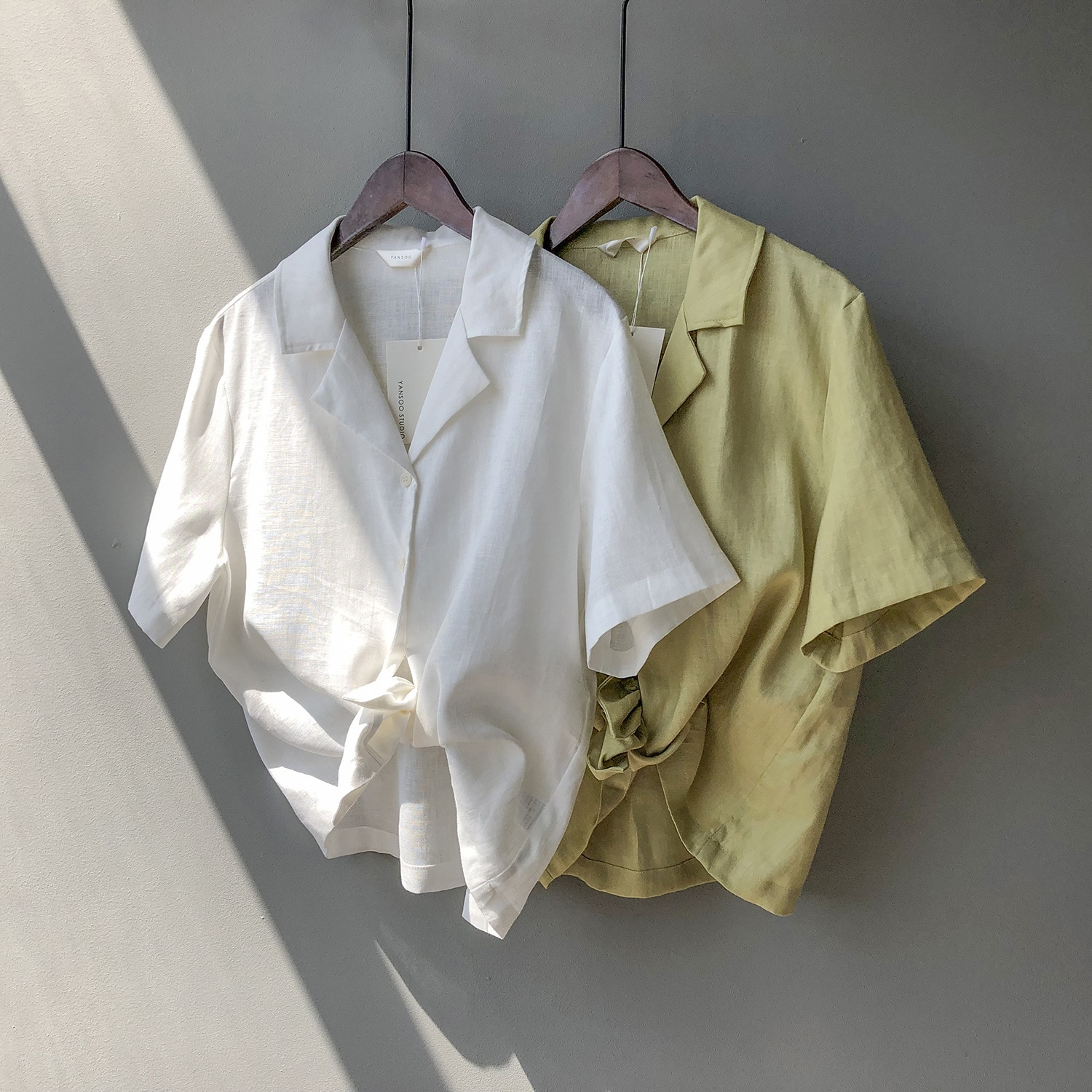 CMAZ Flax short sleeve shirt female han edition loosely contracted the new shirt suit collar blouse