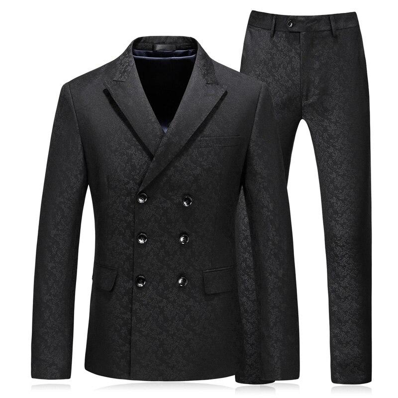(Jacket+Vest+Pants) 2021 Men's double breasted business suits/Black office Tuxedos/Custom Groom's Wedding Dress Leisure Blazers