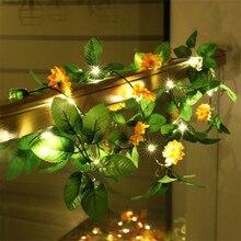 2 متر مصباح ليد سلسلة الاصطناعي البرتقال الروطان عباد الشمس الأخضر فاينز بطارية تعمل بالطاقة الأسلاك النحاسية مصباح Ins غرفة الديكور فانوس