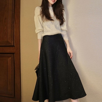 Autumn Ladies Sweater Skirt Set Fashion Japanese Korean Fashion Knitted Pullover Midi Skirt Two-piece Suit Women's Outfits New