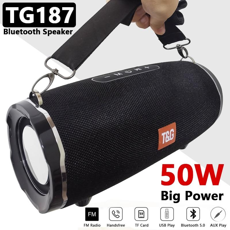 مكبر صوت بخاصية البلوتوث TG187 بقوة 50 وات ومكبرات صوت للكمبيوتر ومضادة للماء وعمود محمول وقاعدة فائقة ثلاثية الأبعاد ومضخم صوت استريو بوم بوكس ...