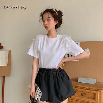 WHITNEY WANG tshirt 2020 Summer Fashion Streetwear Designer tyle Pipe Bows T-Shirt Women t shirt Tops Lady Tees  t shirt femme