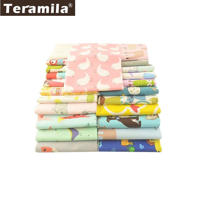 Teramila 100% tela de algodón Animal serie 25x160cm Telas Por Metro DIY Patchwork Algodon bebé tela Tissus almohada edredones vestido