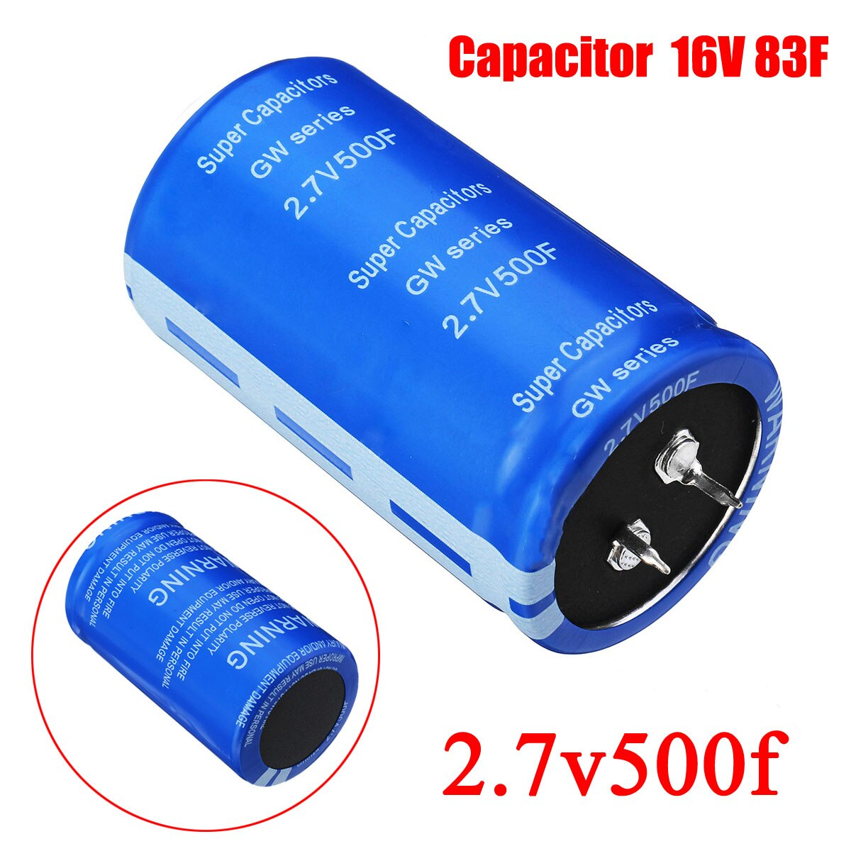 Condensador súper Fala 2.7v500f ESR bajo, pies de tornillo, súper condensador Ultracapacitor para coche 2,7 V 500F 6x4cm, súper condensador de faradio