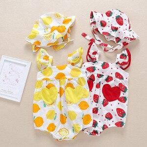 Newborn Infant Baby Girls Sets Straps Fruit Print Fashion 2021 Summer Ruffle Romper Sunsuit Hat Bodysuit For Baby Clothes#2