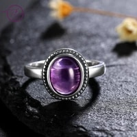 natural 8x10 mm oval natural amethyst rings womens 925 silver vintage fine jewelry ring new fashion high quality gifts