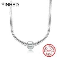 yinhed original diy jewelry necklace fit bead clasp 100 solid 925 sterling silver snake chain necklace for women gift zn142