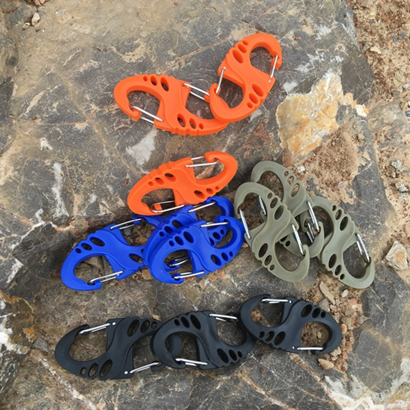 10 Uds Mini mosquetón de escalada de plástico hueco Clip hebillas de doble liberación Molle mochila táctica bolsa EDC herramientas accesorios de Camping