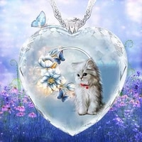 cute kitten and daffodil pattern womens necklace crystal glass heart pendant fashion glamour women jewelry accessories