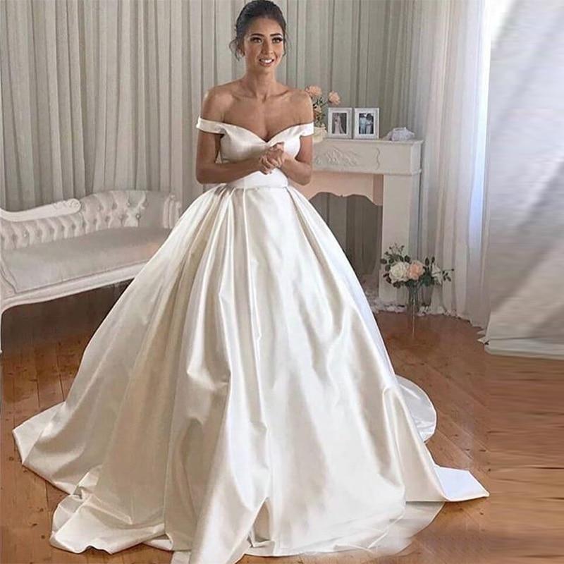 Vestidos de novia de satén, para bodas, hochzeitskleid, novedad de 2020