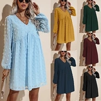 women loose jacquard dress adults casual solid color long sleeve v neck dress