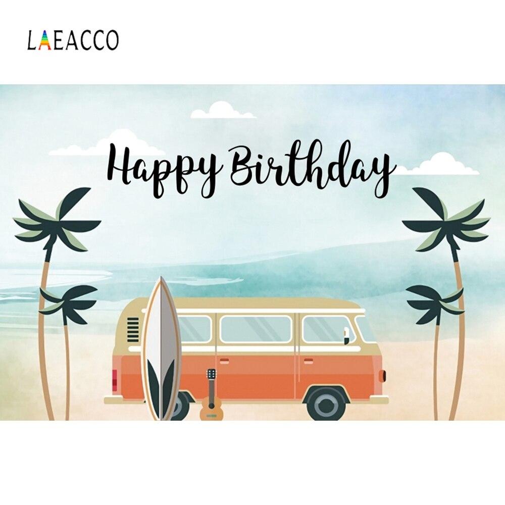 Fondos De Cumpleaños Laeacco nubes azules del cielo palmeras árboles autobús tabla de surf guitarra fotografía fondos vacaciones de verano fotófono