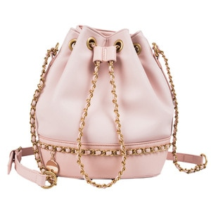 Luxury Leather Texture Drawstring Bucket Shoulder Bag for Young Girls Cute PU Leather Chain Large Crossbody Handbag Lady Purses