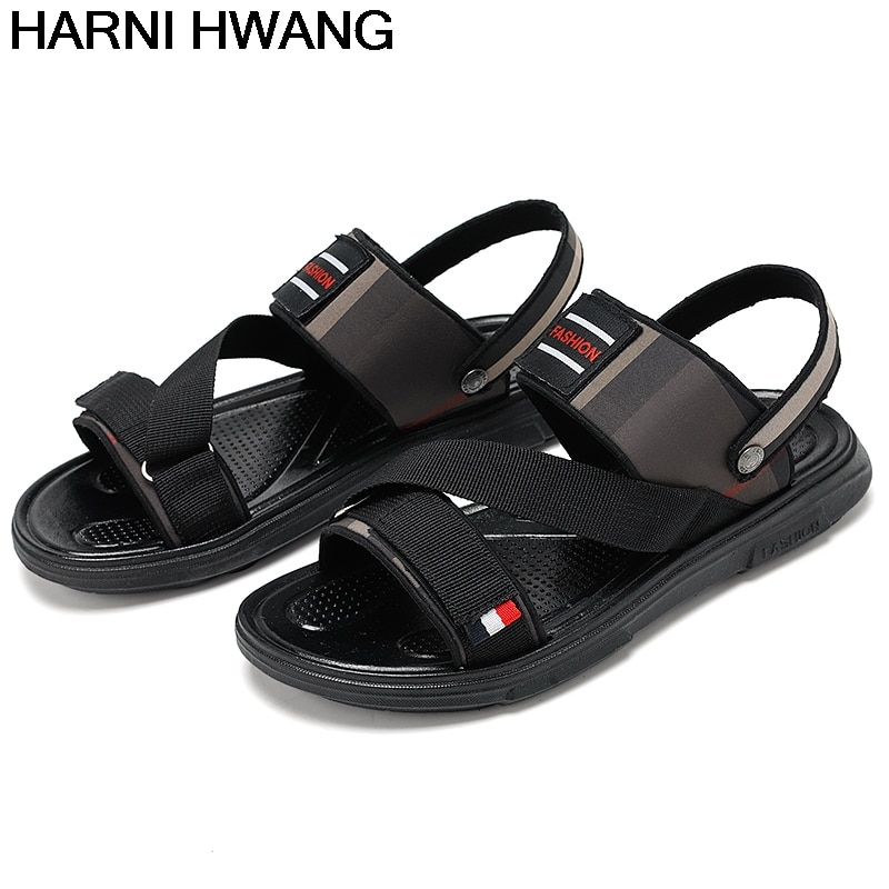 Men'S Slippers Summer New Breathable Non-Slip Beach Slippers Personality Fashion Open-Toed Flat Sandals Size 39-44 Wholesale