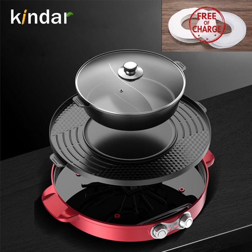 1600w electric shabu roasted pot multifunctional electric pan grill bbq grill raclette grill electric hotpot with grill pan Bbq Grill Hot pot barbecue pot roast home non-stick electric grill smokeless barbecue tray multifunction baking pan