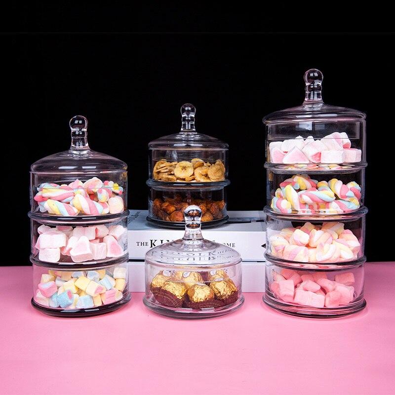 كريستال كاندي غطاء شريط شفاف جرة زجاجية أربعة طبقات وعاء لحفظ الطعام المنزلية متعدد الطبقات زجاج زُهرية مزخرفة