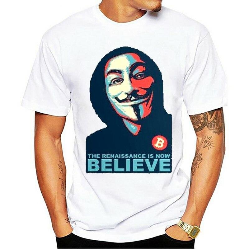 Men T shirt Classic Renaissance V For Vendetta Believe Bitcoin funny t-shirt novelty tshirt women