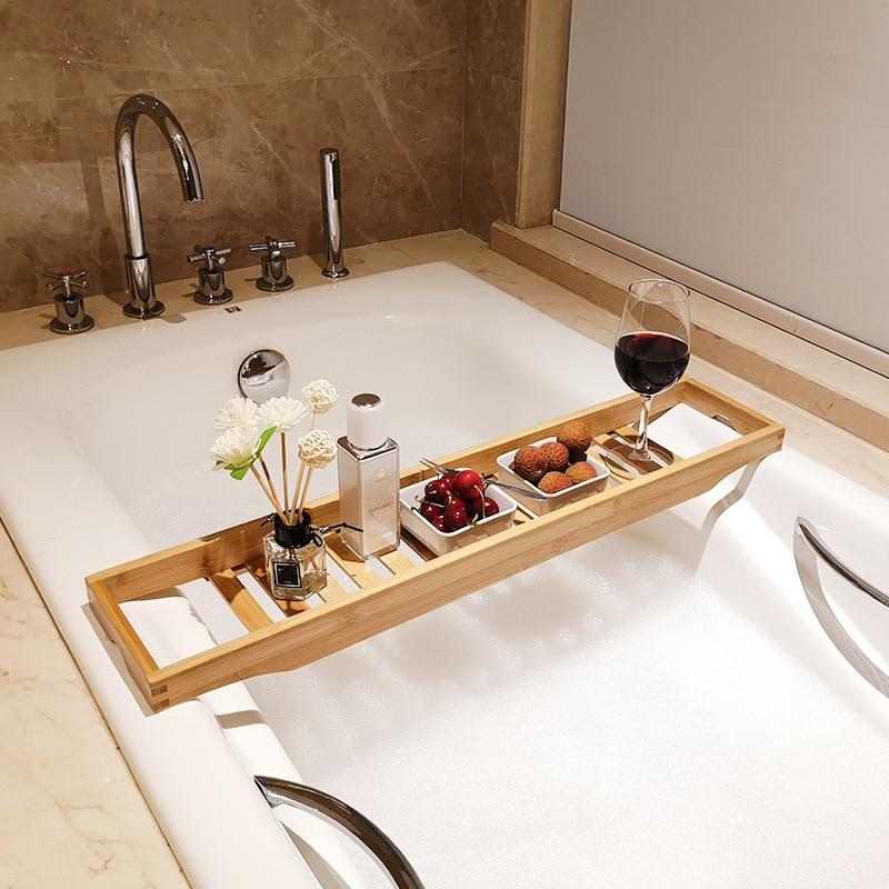 رف حمام من الخيزران غير قابل للانزلاق ، رف حمام متعدد الوظائف للمرحاض ، والمنتجع الصحي ، وصينية حوض الاستحمام ، وإكسسوارات الحمام