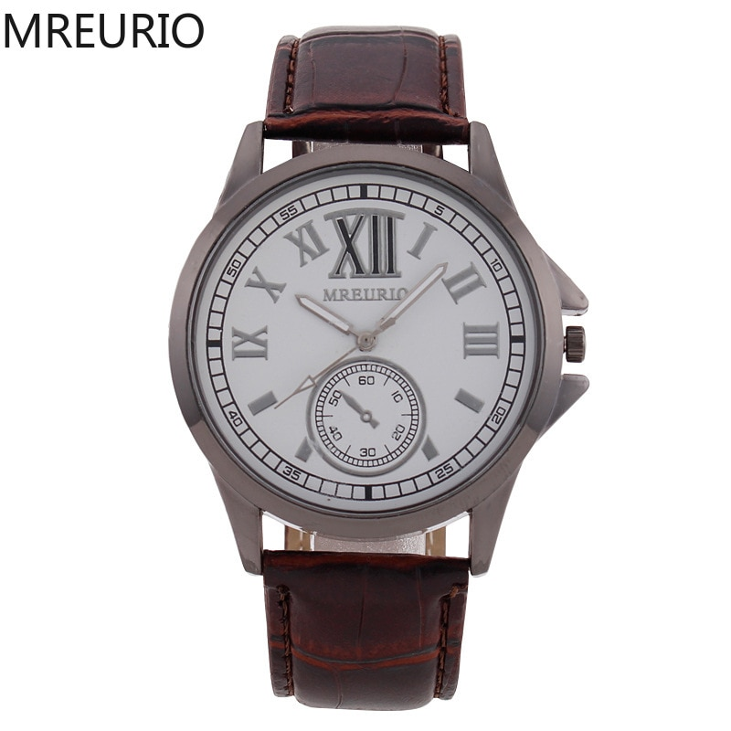 MREURIO Men's Watch Casual Male Single-Eye Vintage Romen Numerals Hight Quality Leather Strap Quartz Watch for Men Wrist Watch enlarge
