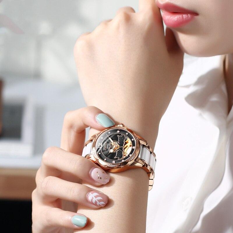 Female Watch Full Automatic Mechanical Watch Ceramic Strap Simple Fashion Hollow Note Waterproof Women's Watch 8831 enlarge