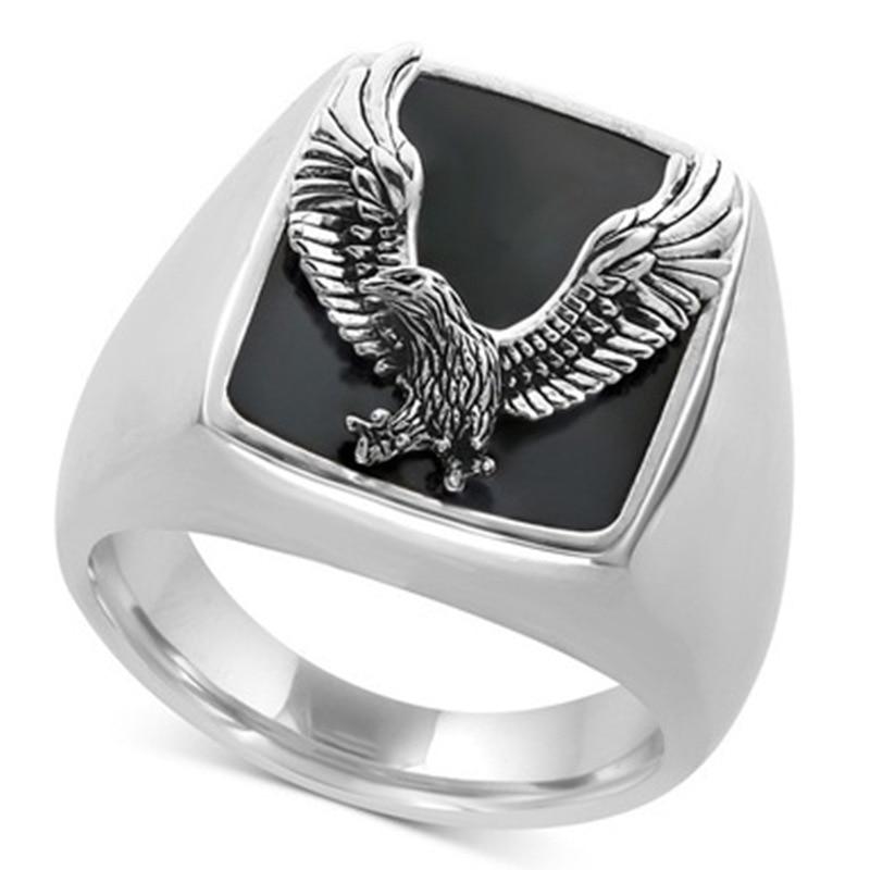 Huitan, gran oferta, anillo de águila Punk para hombres, alas extendidas, Color negro, Vintage, fiesta, Hip Hop, Steampunk, anillos geniales, joyería para hombres, Tamaño 7-13