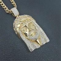 new retro jesus christ head pendant necklace classic crown jewel cube crystal necklace hip hop christ pendant ornament