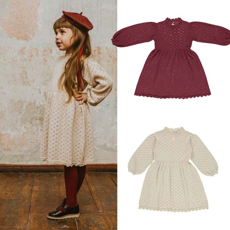 Kids Cotton Dresses 2020 Be O Brand New Autumn Winter Girls Knit Hollow Out Princess Dress Baby Child Fashion Outwear Clothes