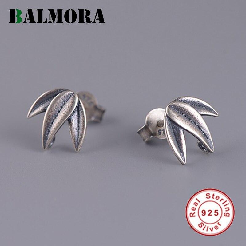 BALMORA 925 пробы серебряные Бамбуковые серьги-гвоздики для женщин и девочек, подарок, оригинальные серьги с растениями, ювелирные изделия