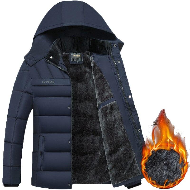 Winter Men Fleece Parka Coats Thick Mens Hooded Jacket Coat Warm Thicken Male Overcoat Windproof Out