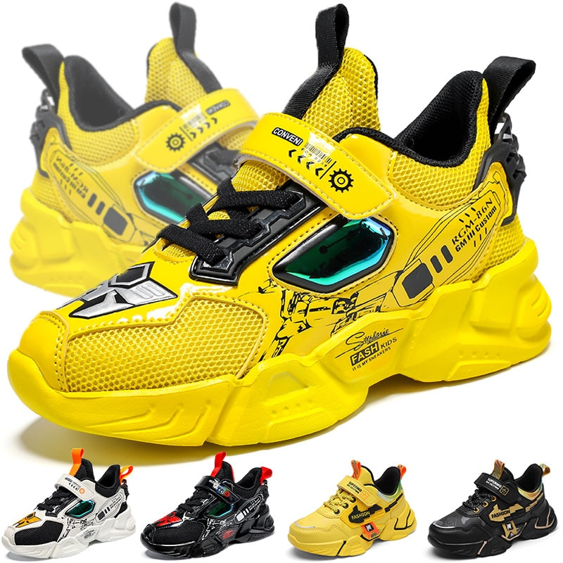 New Mech Children Sneakers Kids Walking Shoes Non-slip Lightweight Sports Children's Shoes Quality S