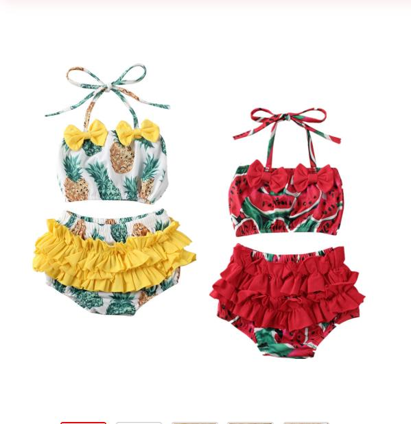 Summer Swimsuit Kid Baby Girl Watermelon Pineapple Halter Tankini Swimwear Swimsuit Bikini Set Bathing Swimming Clothes Set