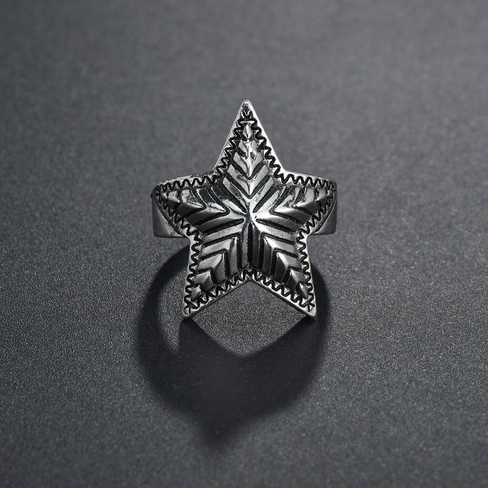 Nouvelle tendance rétro ouvert anneaux argenté grande étoile anneaux pour hommes femmes qualité créative anneaux fête Vintage bijoux