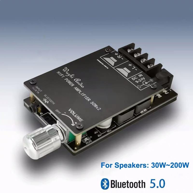 Bluetooth 5.0 Digital 50W+50W TPA3116 Audio Power Amp For Speakers 30W~200W HiFi Stereo TPA3116D2 Aux Amplifier Board