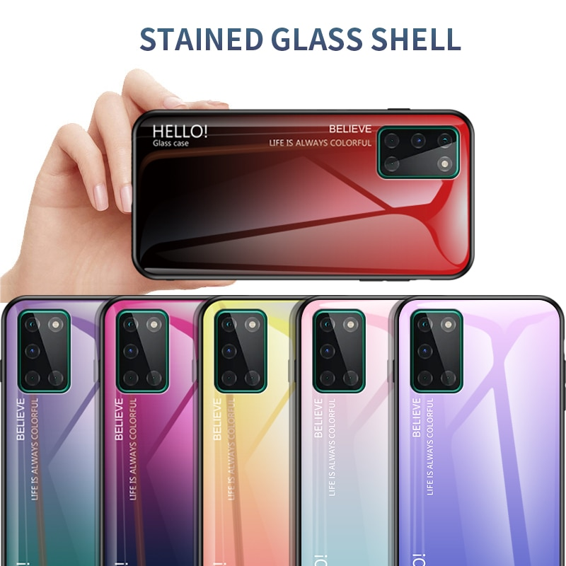 For OnePlus 8T Case Hard Tempered Glass Gradient marble protective Back Cover case For one plus 8t o