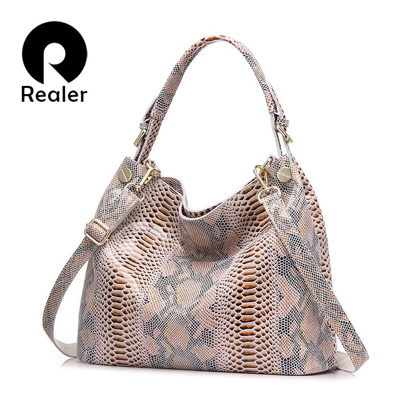 REALER Serpentine genuine leather bag  fashion serpentine prints leather woman handbags  large shoulder bags hobos tote bag