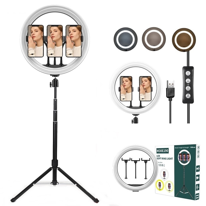 Tongdaytech 12 Inch Dimmable LED Selfie Ring Fill Light Camera Photography Ring Lamp With Tripod For Makeup Video Live YouTube