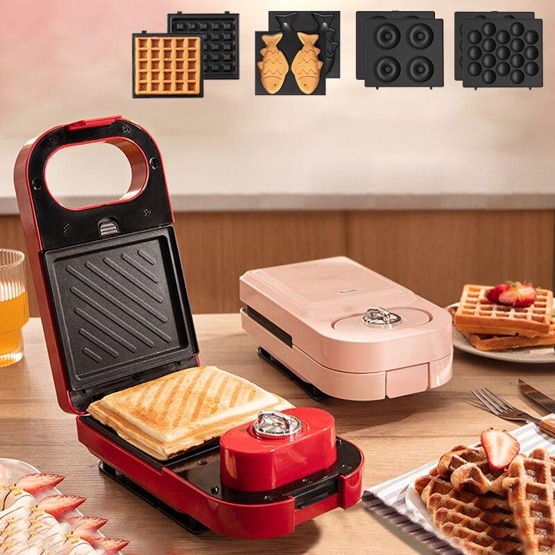 Sandwichera eléctrica para hacer waffles, tostadora de rosquillas, máquina de desayuno multifunción,...