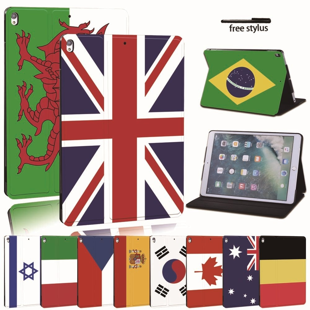 For iPad 2 3 4 5 6 7/Air 1 2 3/Pro 11 2018 2020 PU Leather Tablet Stand Folio Cover -Ultra-thin Flag colors Slim Case