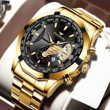 Mens Watches Sport Waterproof Stainless Steel Fashion Luxury Gold Watch Date Clock Quartz Wristwatch