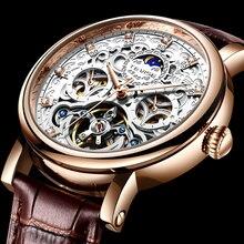 TEVISE Brand Classic Retro Men Watches Automatic Mechanical Watch Men Tourbillon Clock Genuine Leath
