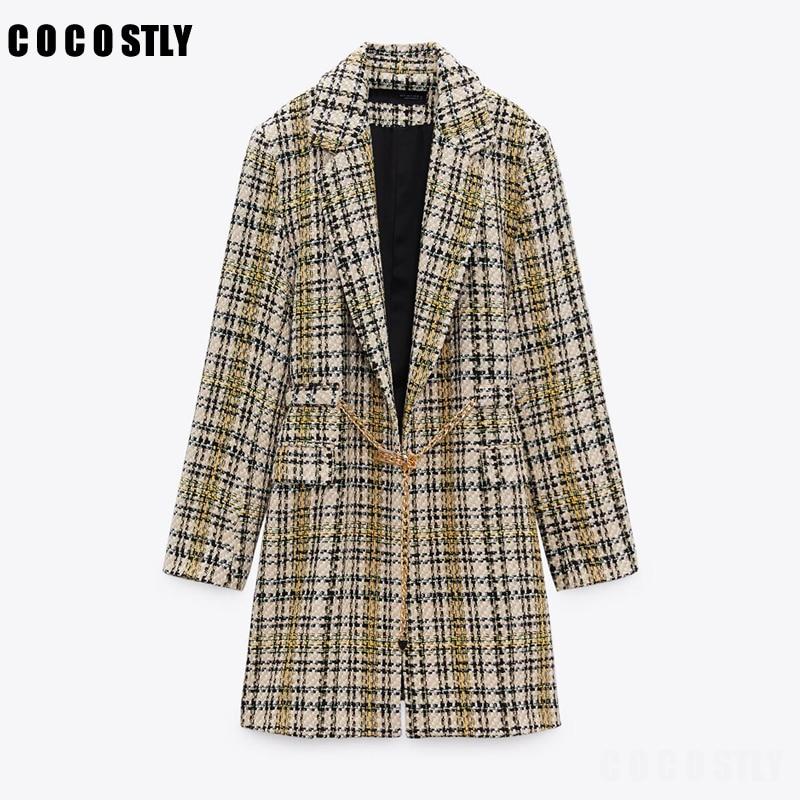 Za معطف نسائي موضة 2021 بحزام ذهبي معطف تويد عتيق بأكمام طويلة وجيوب منفوشة للنساء جاكيت تويد خارجي Veste casaco