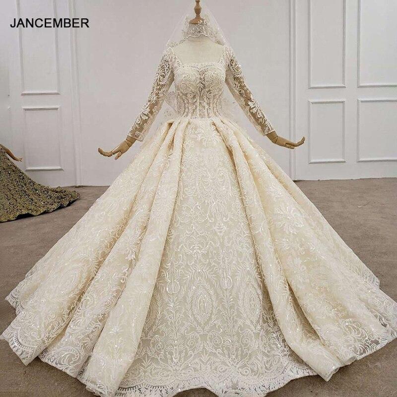 HTL1197 فستاين سهرة/فساتين الحفلات رشيق العروس فستان الزفاف 2020 طوق مربع كم طويل زين الترتر بلا ظهر