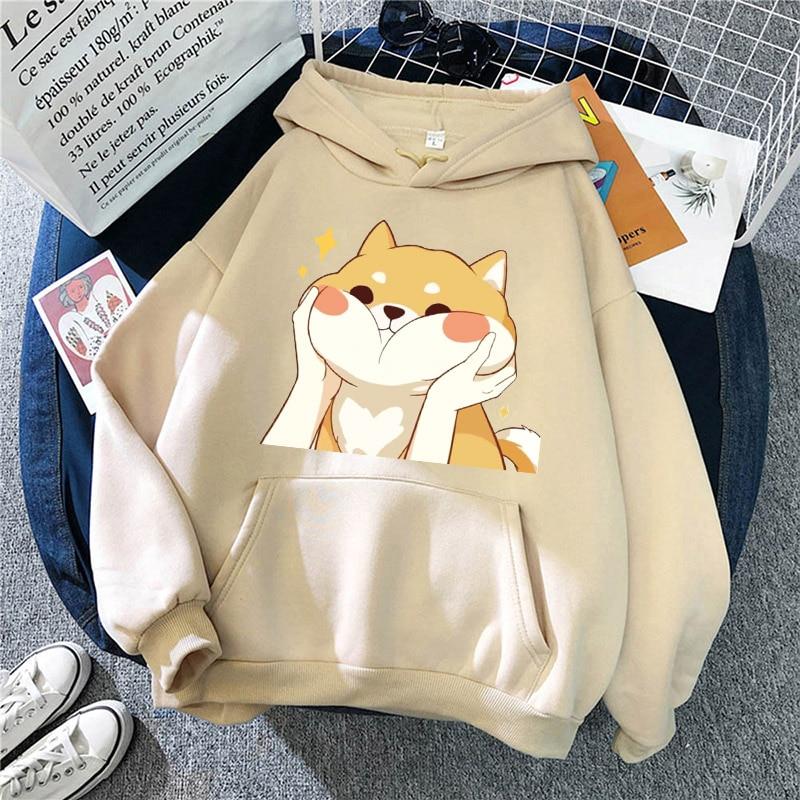 Осень 2021, Женская толстовка, милые корги, пуловер с принтом, повседневный модный свитер, Свободная Толстовка С Карманами и мультяшным рисунк...