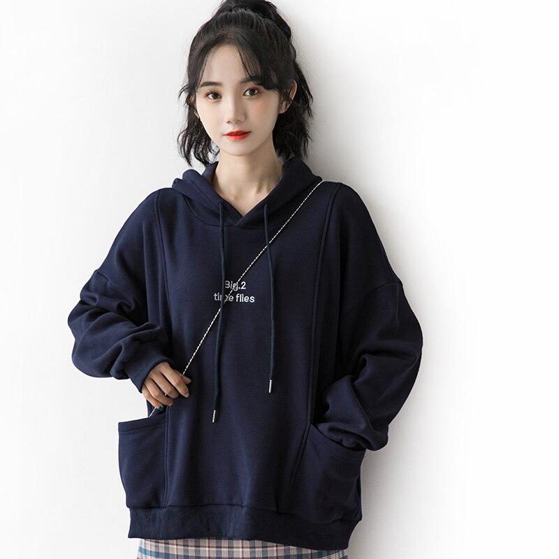 2020 Autumn and Winter New Retro Hong Kong Fleece-Lined Thickened Hooded Sweatshirt Women's Loose Ko