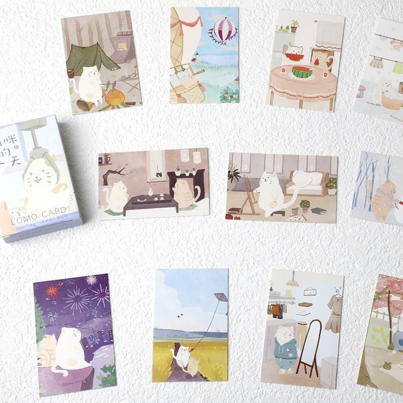 28-lenzuola-set-lovely-cat-vita-quotidiana-mini-lomo-cartolina-biglietto-di-auguri-carta-di-desiderio-di-natale-e-del-nuovo-anno-regali
